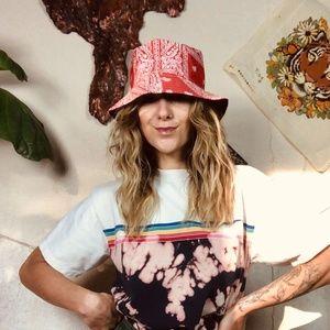 Accessories - Red Bandana Print Bucket Cotton Summer Hat